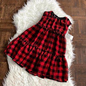 Pastourelle Sz 6 Red Black Plaid Check Dress NWT